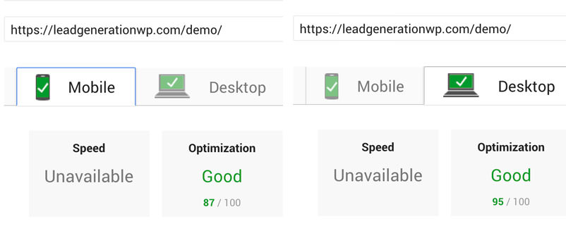 LeadGenWP PageSpeed Score