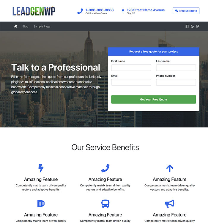 LeadGenWP - WordPress Theme