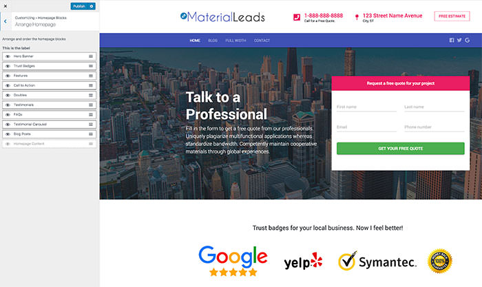MaterialLeads Arrange Homepage