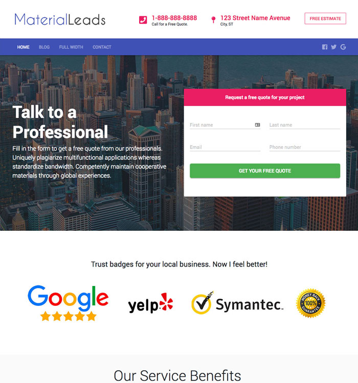 MaterialLeads WordPress Theme